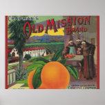 poster viejo de la etiqueta de la misión