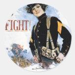 Poster viejo de los infantes de marina de los E.E. Pegatina Redonda