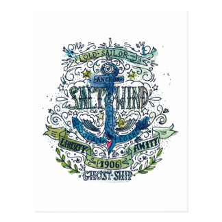 Poster viejo del ancla del marinero tarjetas postales