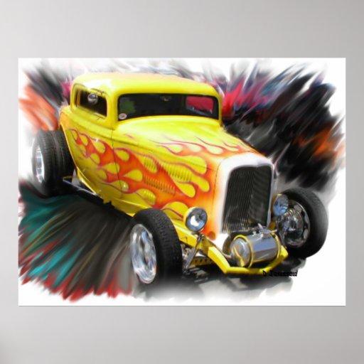 Poster viejo del automóvil descubierto