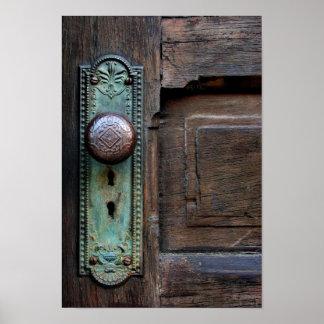 Poster viejo del botón de puerta