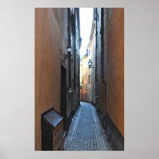 Poster viejo del callejón de la ciudad de Estocolm