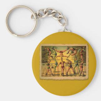 Poster viejo del circo de 13 acróbatas en las llavero redondo tipo pin