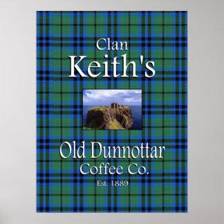 Poster viejo del Co. del café de Dunnottar de Keit