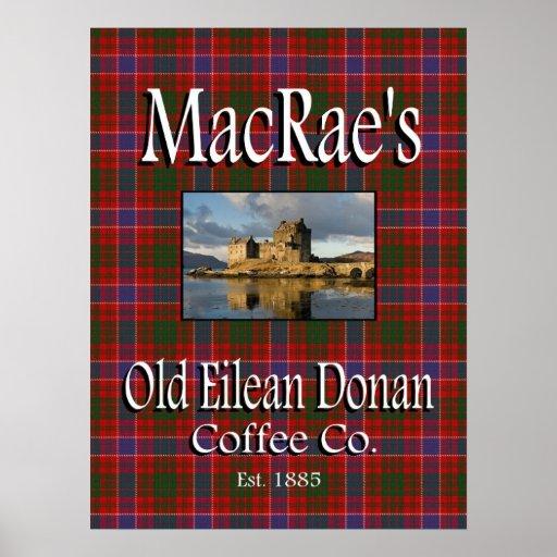 Poster viejo del Co. del café de Eilean Donan de M