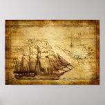 Poster viejo del mapa de la nave