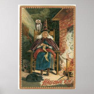Poster viejo del vintage de la bruja de la vieja a