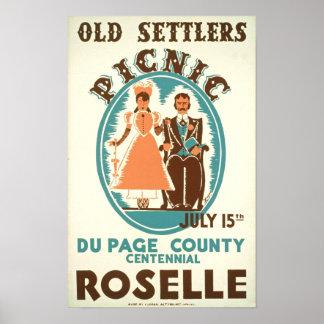 Poster viejo del vintage de la comida campestre de póster