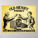 Poster viejo del whisky de Henry del vintage