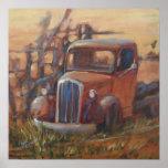 Poster viejo oxidado del camión