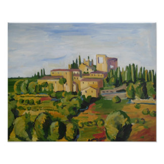 Poster: View of Tuscany, Painting, Italy Poster