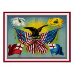 Poster Vintage 1885 History of US Flags Posters
