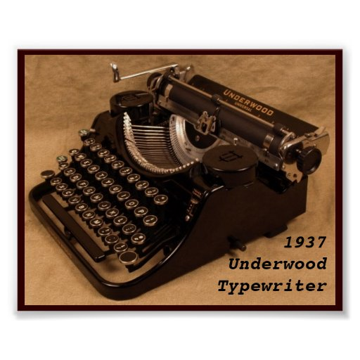 Poster - Vintage 1937 Underwood Typewriter