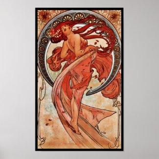 Poster Vintage Art Alfons Mucha 1898 Dance