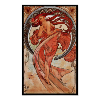 Poster Vintage Art Alfons Mucha 1898 Dance Posters
