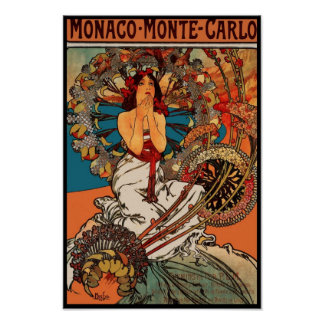 Poster Vintage Art Alfons Mucha Monaco Monte Carlo Poster