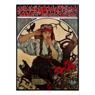 Poster Vintage Art Alfons Mucha Moravian Teachers