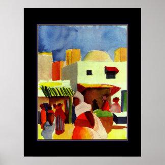 Poster Vintage Art August Macke Algiers Market Print