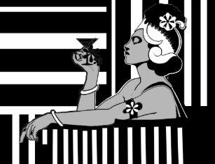 Poster Vintage Art Deco Stripe Black White Large