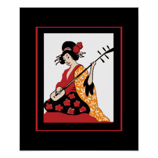 Poster Vintage Art Geisha & Shamisen