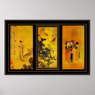 Poster Vintage Art Japanese Tang Yin Panels Posters
