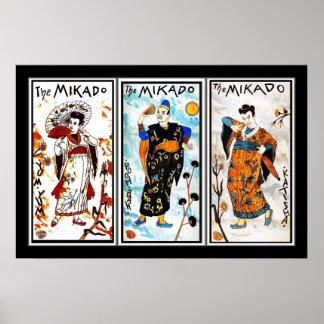 Poster Vintage Art Japanese The Mikado 3 Panels