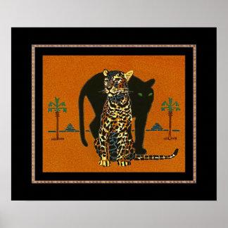 Poster Vintage Art Leopard