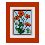 Poster Vintage Art Orange Red Poppies Posters