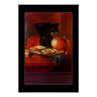 Poster Vintage Art Still Life Oysters Painting