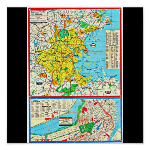 Poster-Vintage Boston Maps-3 Póster