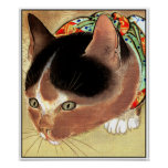 """Poster: Vintage Cat Art: """"Curious Kitty Cat"""" Poster"""