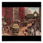 Poster-Vintage Chicago Art-State and Randolph 1940
