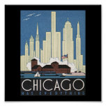 Poster-Vintage Chicago Travel Art-7
