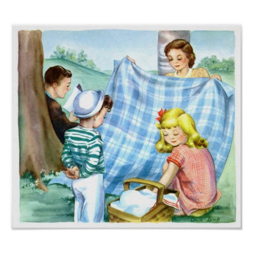 Poster-Vintage Family Picnic