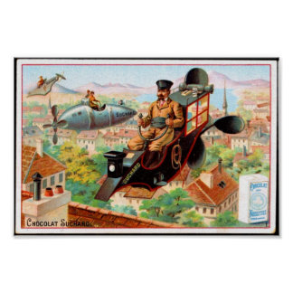 Poster Vintage French Chocolate Ad, steampunk
