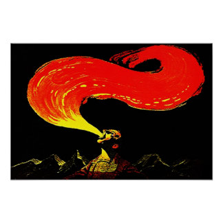 POSTER VINTAGE ILLUSION FIRE BREATHING EATING POP