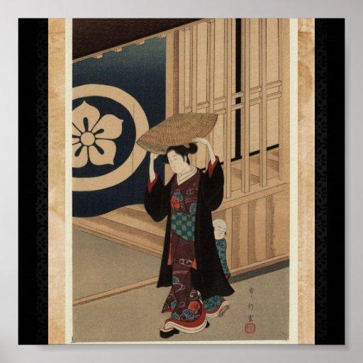 Poster-Vintage Japanese Art-Woman Walking Poster