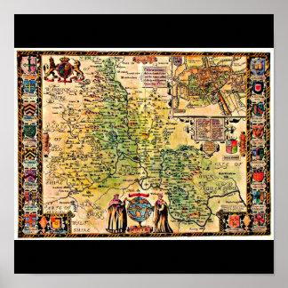 Poster-Vintage Maps-Jodocus Hondius 9 Poster