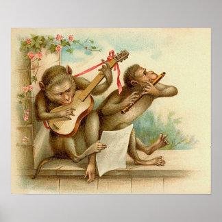 Poster Vintage Music Monkey's