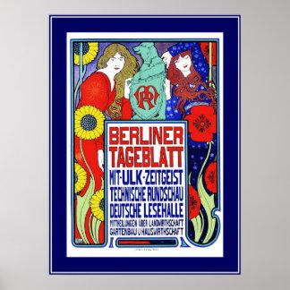 Poster Vintage Plakat newspaper Berliner Tageblatt