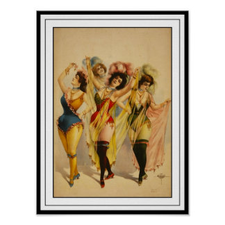 Poster Vintage Theater Dancing Girls 2 Print