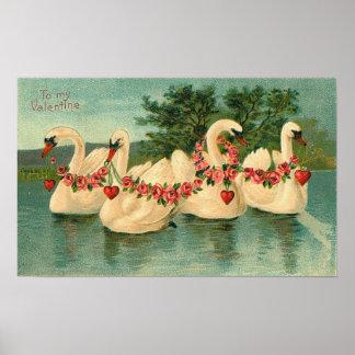 Poster Vintage Valentine Swans