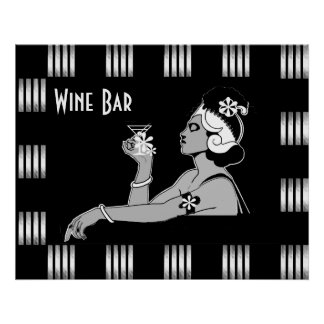 Poster Vintage Wine Art Deco Stripe Black White