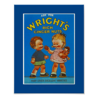 Poster Vintage Wright's Rich Ginger Nuts