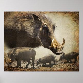 Poster Warthog con los bebés de África