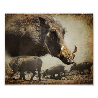 Poster Warthog with babies from Africa