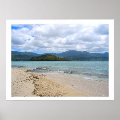 "Poster white (24""x18"")  Mystery Island Vanuatu"