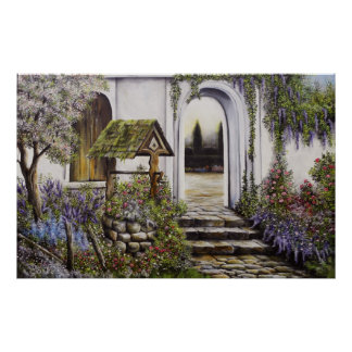 Poster Wishing well garden full brighter colors