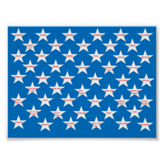Poster with 50 states in stars.