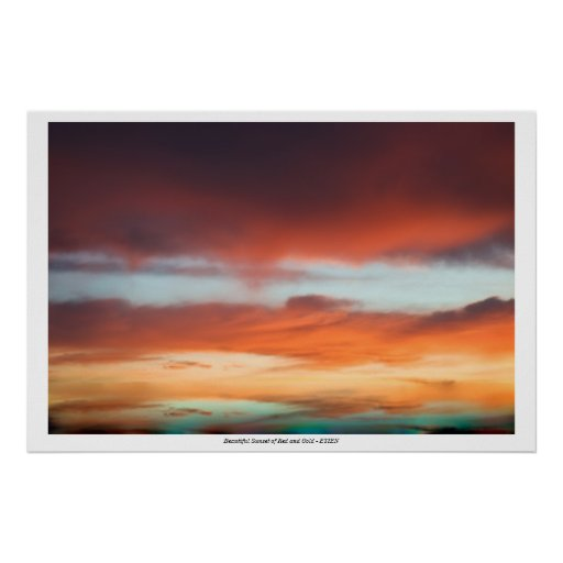 Poster with Beautiful Sunset